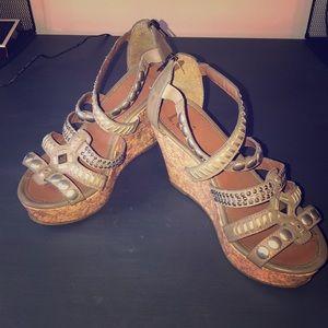 Cork wedge sandals - grey / olive w/ embellishment